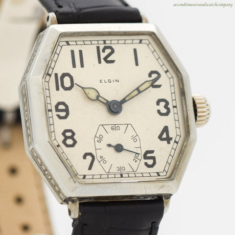 1928 Vintage Elgin Octagonal-shaped Nickle Watch