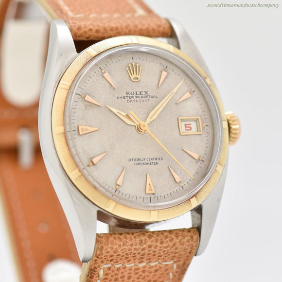 1951 Vintage Rolex Datejust Ovettone Reference 6105 18k Yellow Gold & Stainless Steel Watch