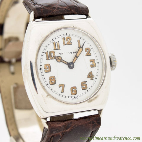 1917 Vintage Tiffany & Co. Tonneau-shaped Sterling Silver Watch
