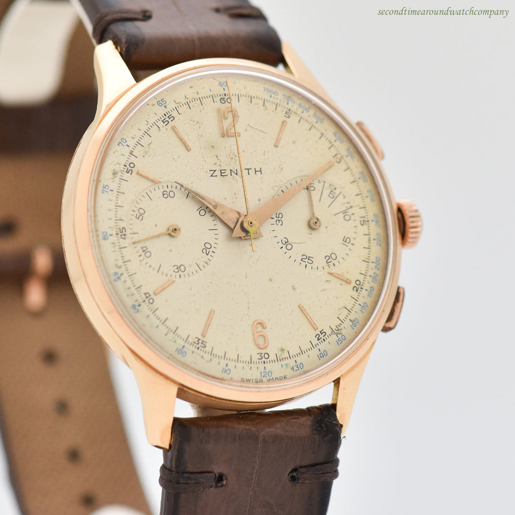1940's Vintage Zenith 2-Register Chronograph 18k Rose Gold Watch