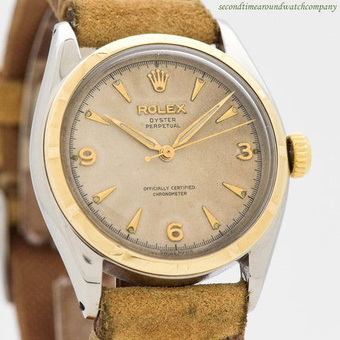 1951 Vintage Rolex Oyster Perpetual Ref. 6085 18k White Gold & Stainless Steel Watch