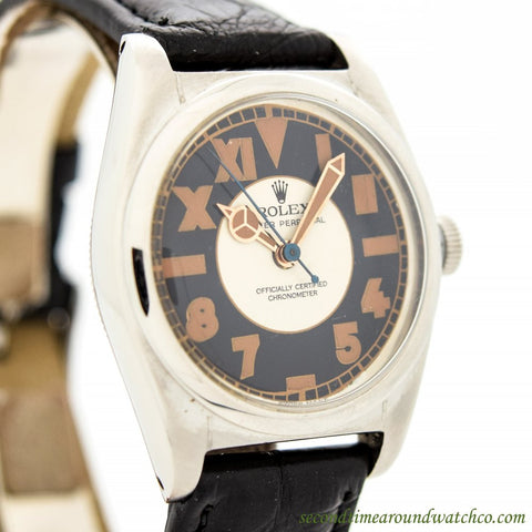 1940's Vintage Rolex Bubbleback Ref. 2940 Stainless Steel Watch