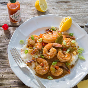 lousiana-BBQ-shrimp-creole-on-stone-ground-grits