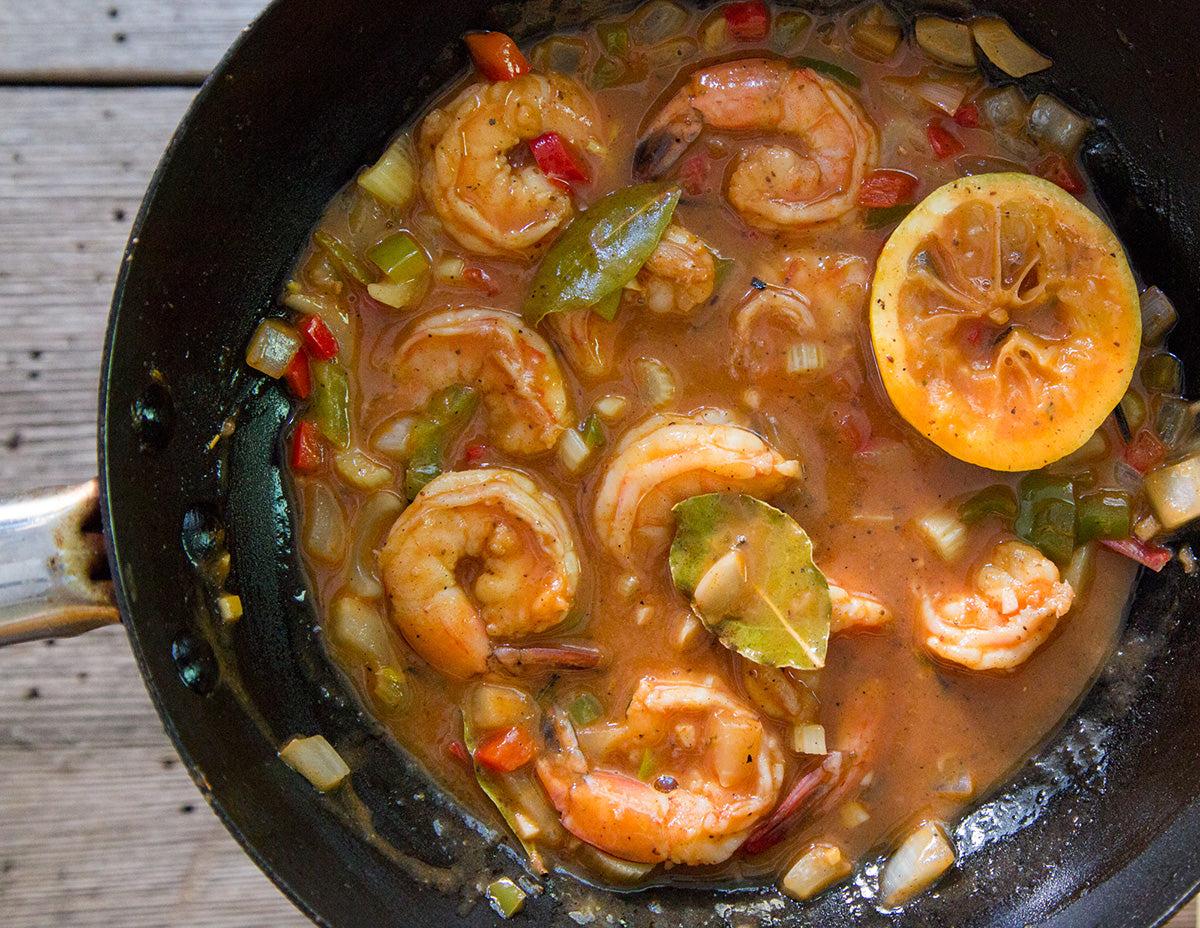 lousiana-bbq-shrimp-creole-cooking-in-skillet
