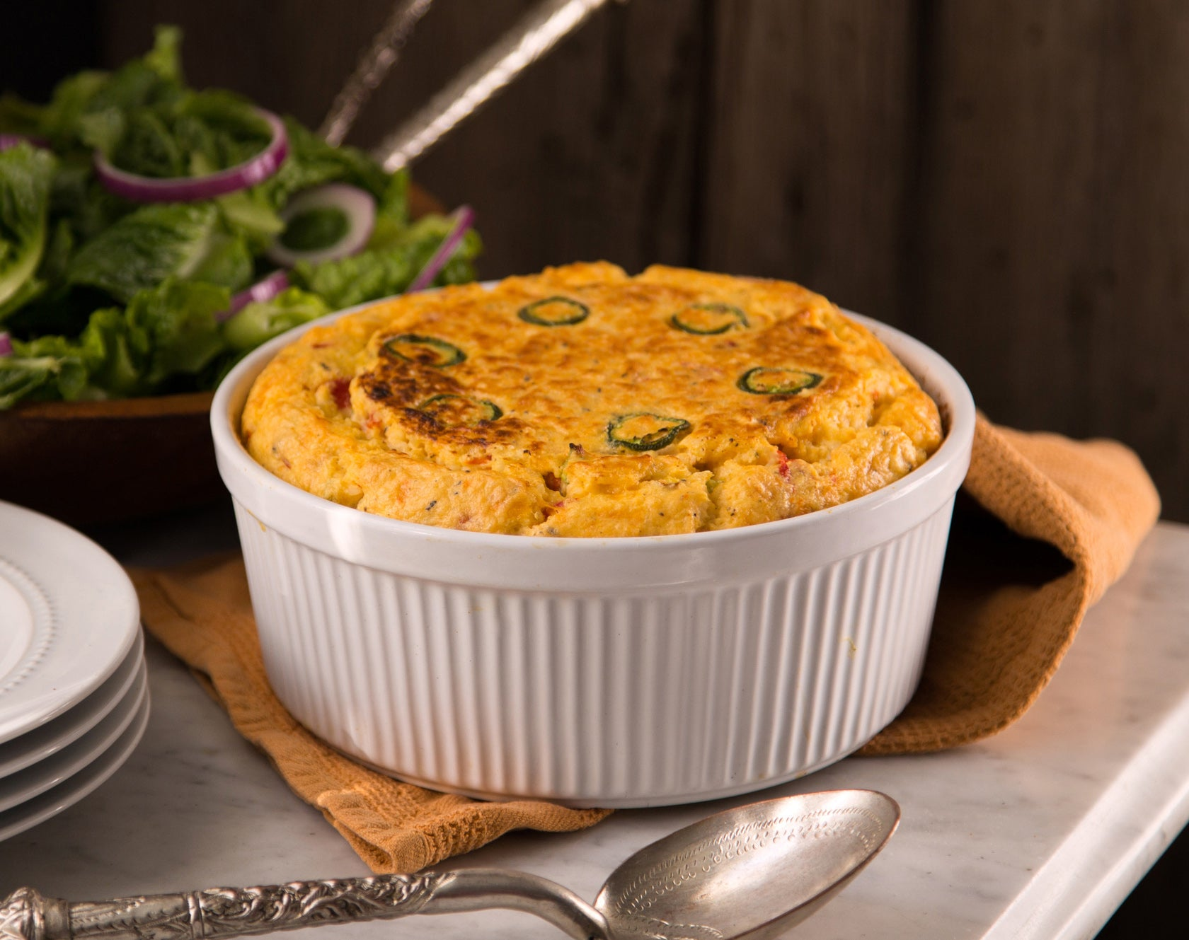 pimento-cheese-grits-souffle-served-with-salad