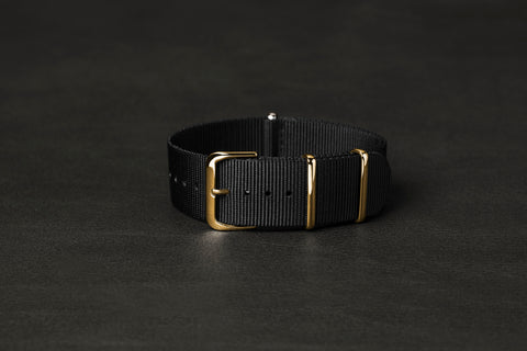 NATO Strap Black Yellow Gold