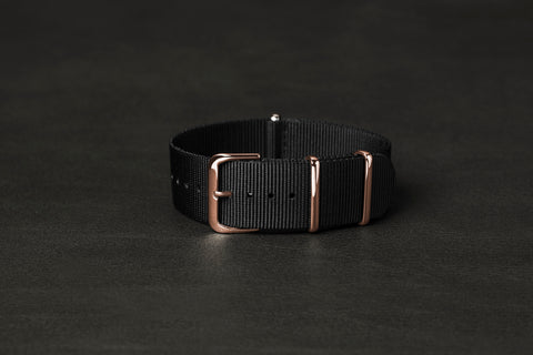 NATO Strap Black Rose Gold