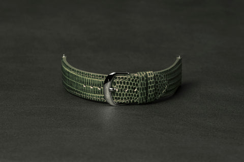 Leather Strap Lizard Green Steel