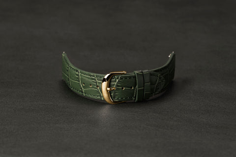 Leather Strap Crocodile Green Yellow