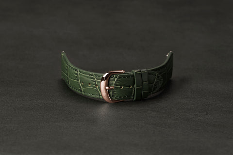 Leather Strap Crocodile Green Rose