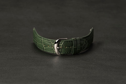 Leather Strap Crocodile Green Steel