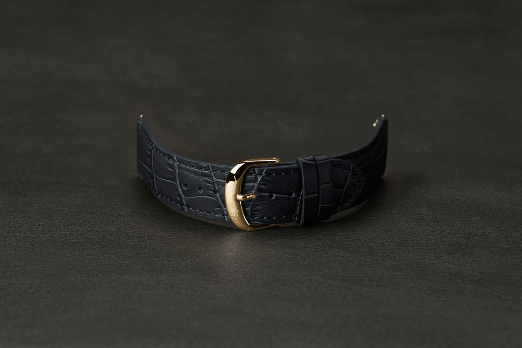 Leather Strap Crocodile Dark Navy Yellow