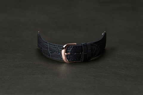 Leather Strap Crocodile Dark Navy Rose