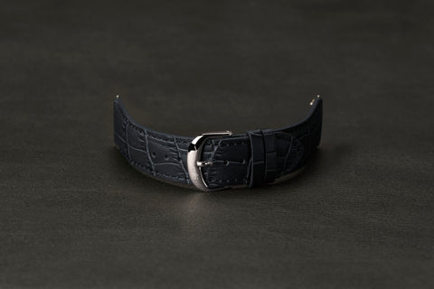 Leather Strap Crocodile Dark Navy Steel