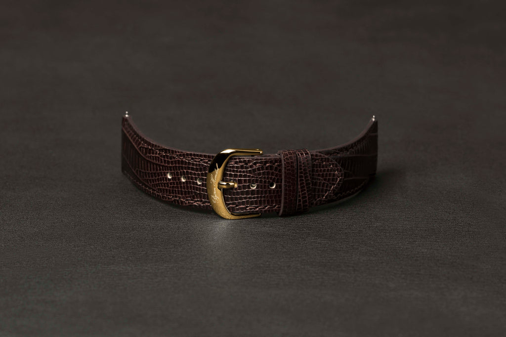 Leather Strap Lizard Brown Yellow