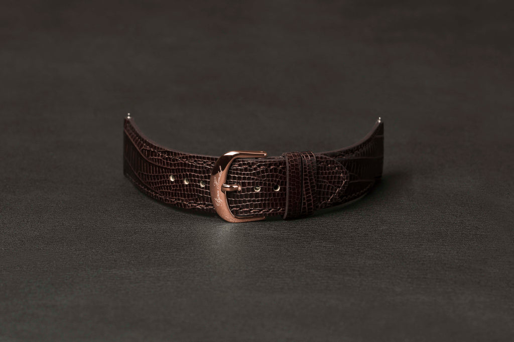 Leather Strap Lizard Brown Rose