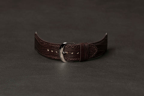 Leather Strap Lizard Brown Steel