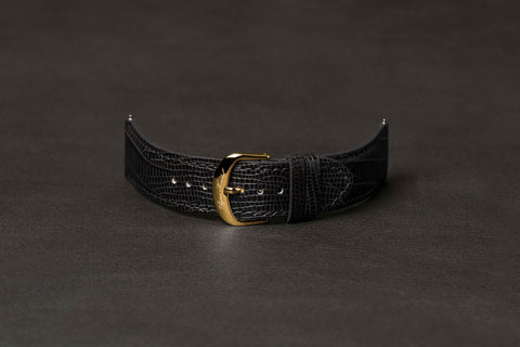 Leather Strap Lizard Black Yellow