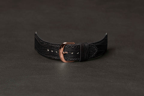 Leather Strap Lizard Black Rose