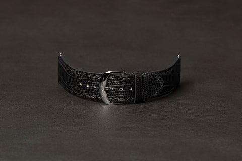 Leather Strap Lizard Black Steel