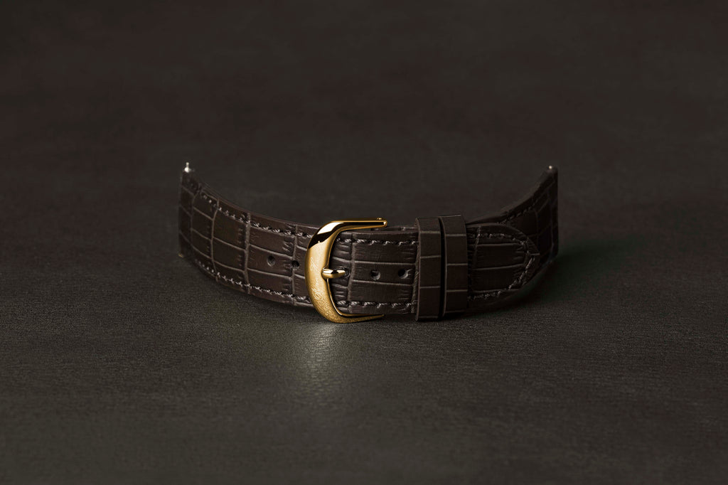 Leather Strap Crocodile Brown Yellow