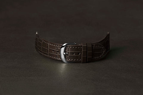 Leather Strap Crocodile Brown Steel