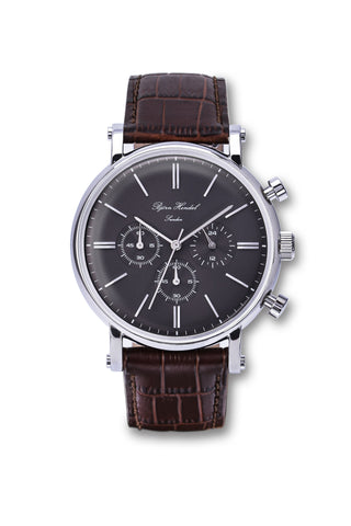 "Björn Hendal Chronograph Stainless Steel  Grey Dial  ""Varberg""  Brown Croco"