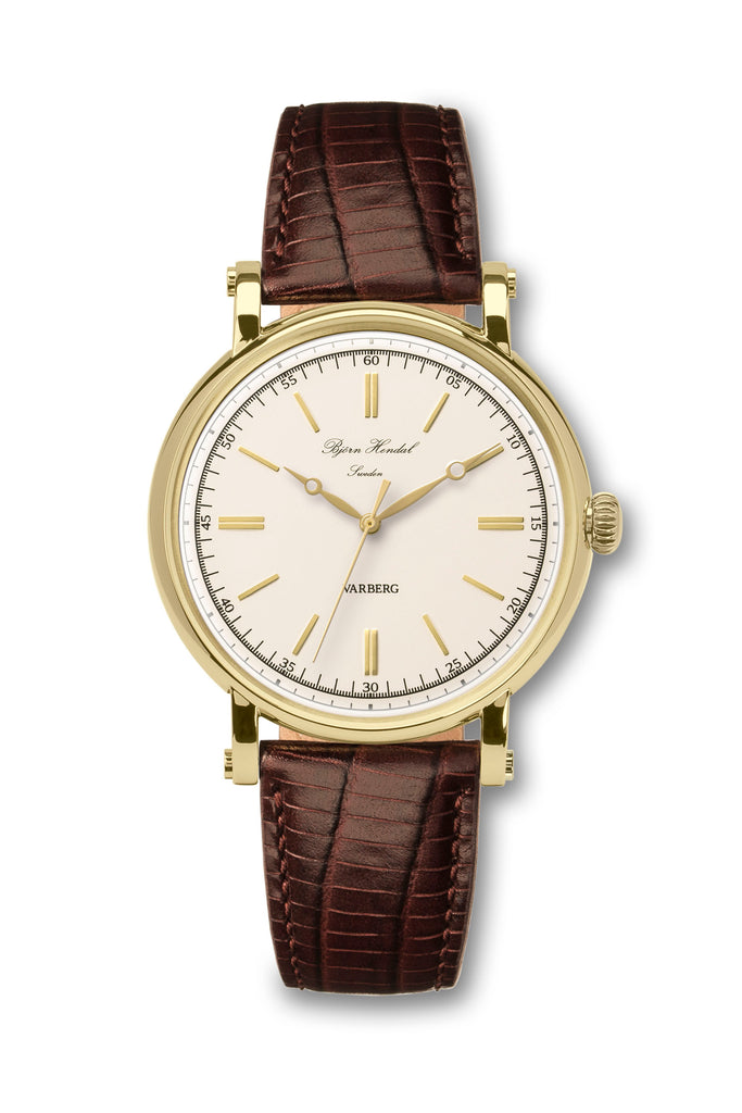 Björn Hendal Varberg Flytande Yellow Gold White Dial Yellow Brown Lizard