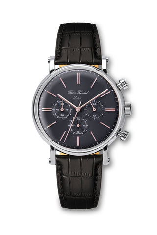 "Björn Hendal Chronograph Stainless Steel Grey Dial Rose ""Varberg""  Black Croco"