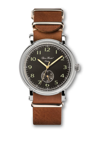 Björn Hendal Varberg Flytande 24 Stainless Steel Black Dial Brown Leather NATO