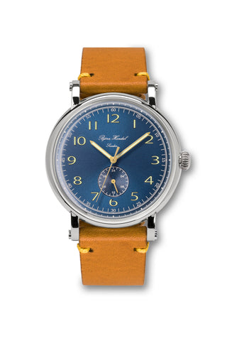 Björn Hendal Varberg Flytande 24 Stainless Steel Blue Dial Yellow Vintage Leather