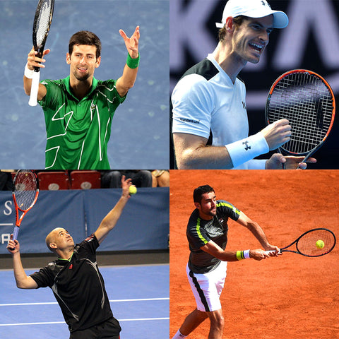 Andre Agassi, Novak Djokovic, Marin Cilic and Andy Murray