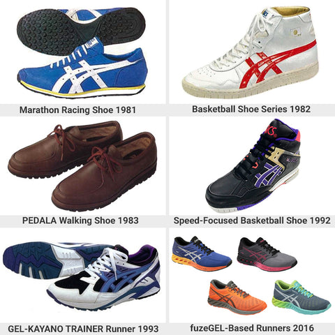 Various Asics Shoes over time