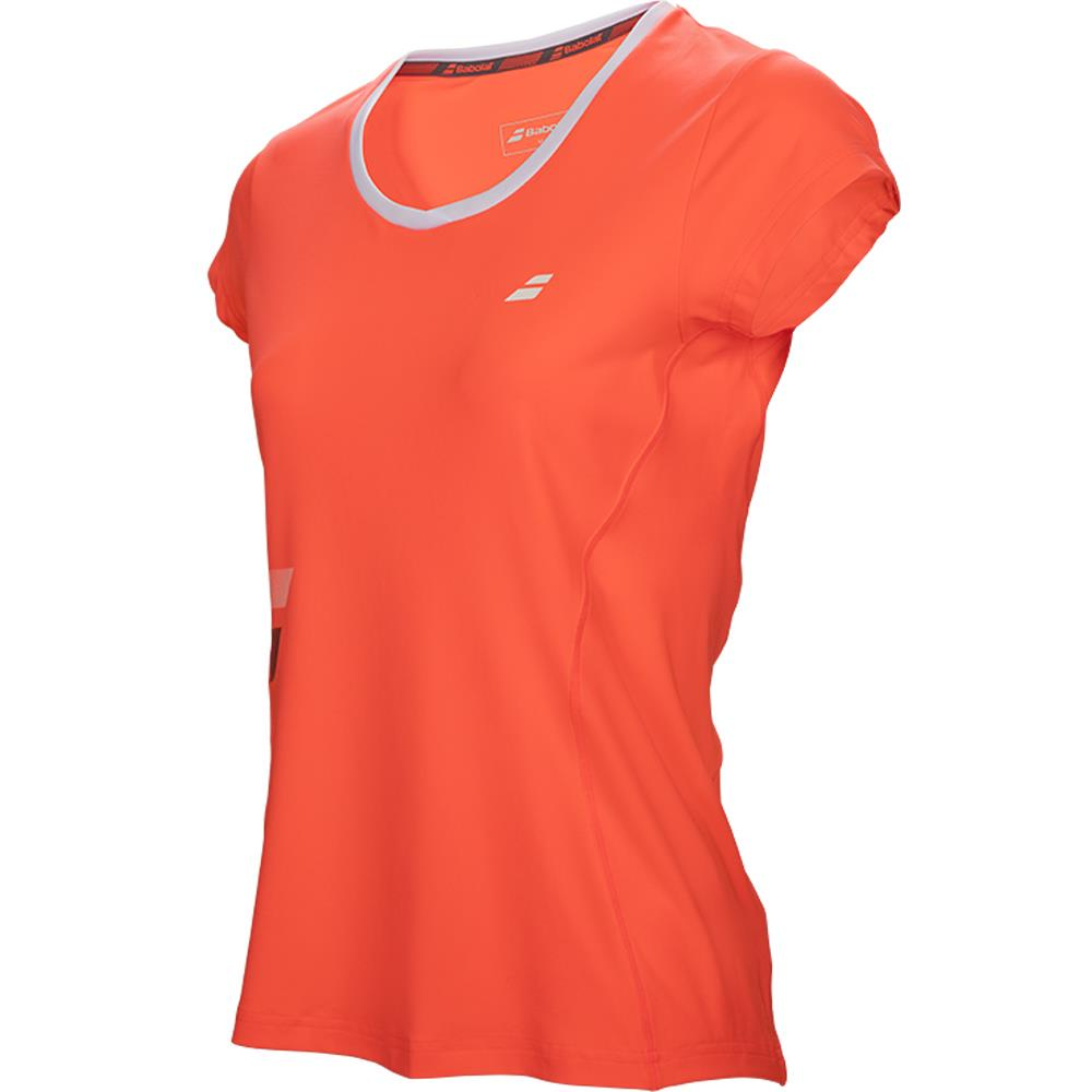 Babolat Girls Core Club Flag Tee - Fluro RedFluro Red