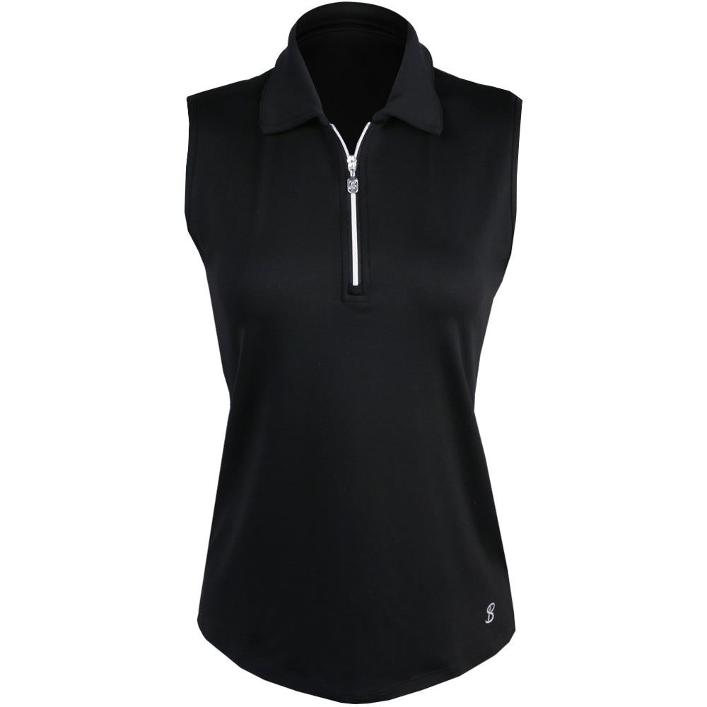 Sofibella Women's UV Staples Sleeveless Polo - Black