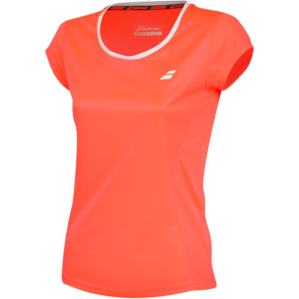 Babolat Girls Core Flag Club Tee - Fluro Red