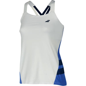 Babolat Women's Performance Strappy Tank Top - White with Wedgewood