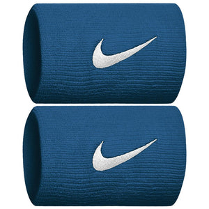 Nike Swoosh Premier DriFit Doublewide Wristbands - Green Abyss/Silver