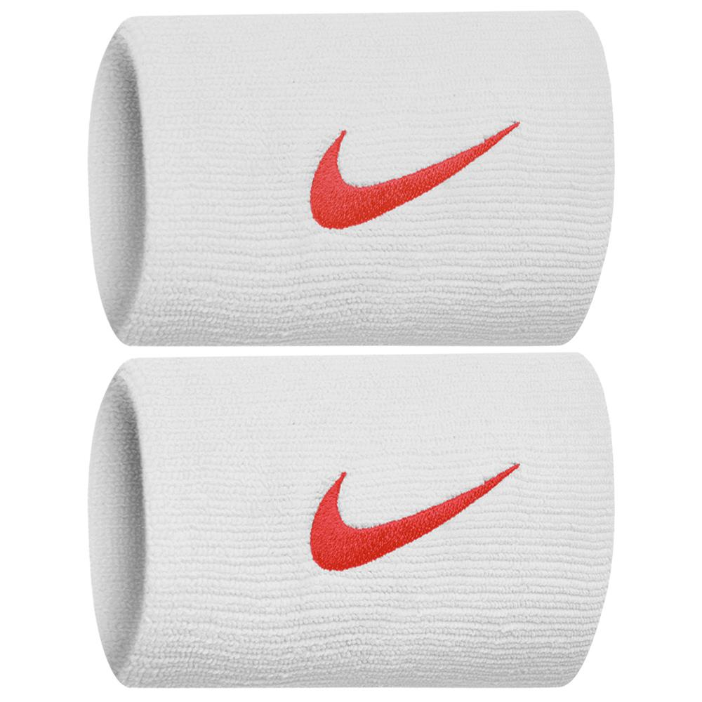 Nike Swoosh Doublewide DriFit Wirstbands 2.0 - White/Habanero Red