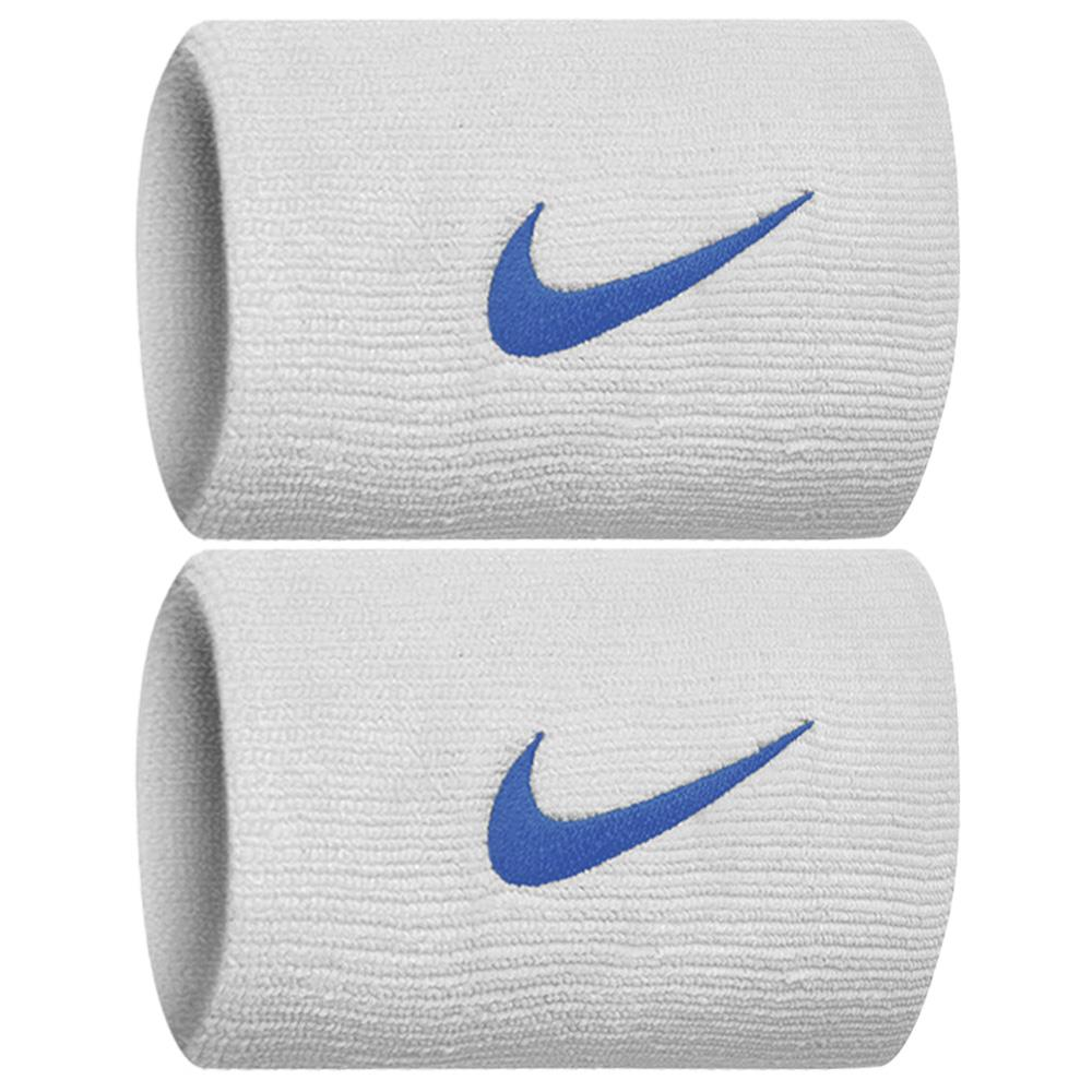 Nike Swoosh Doublewide DriFit Wirstbands 2.0 - White/University Blue