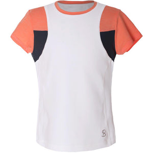 Sofibella Girls Singapore Crystal Short Sleeve Top - White/Peachy