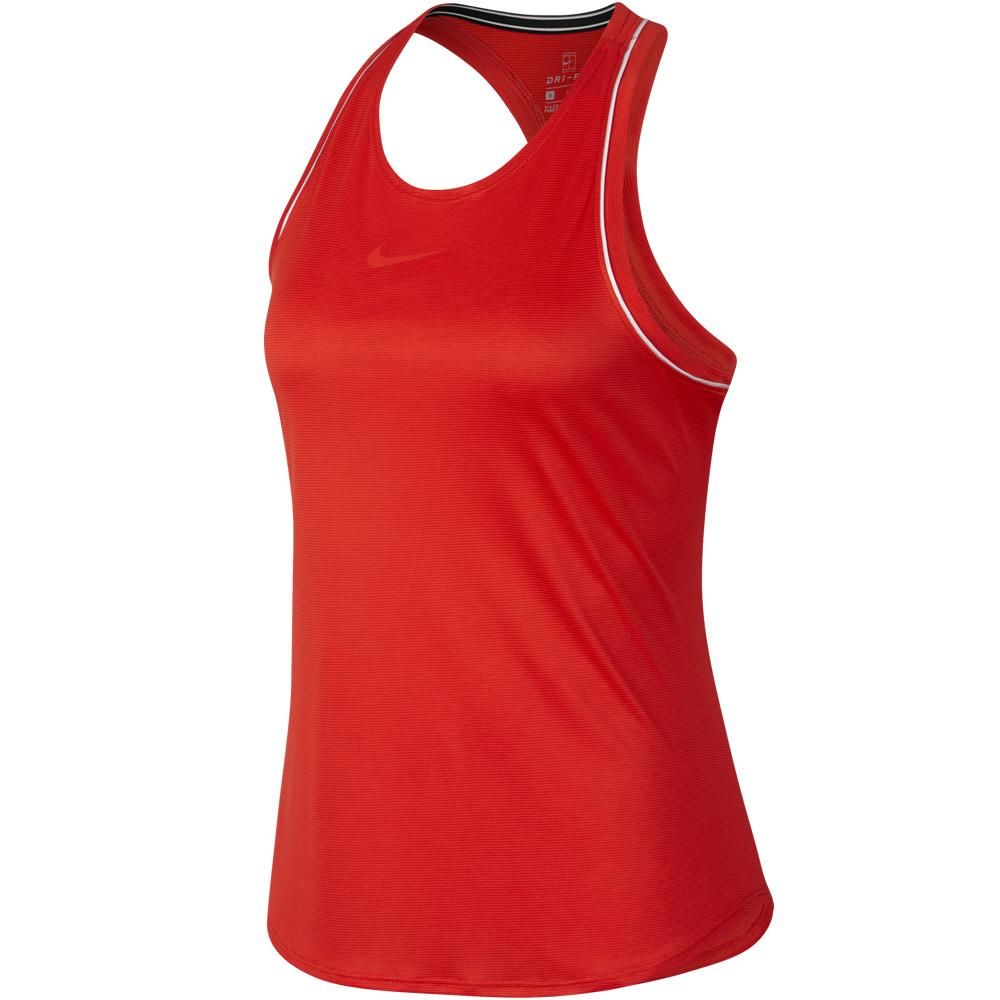 Nike Women's Court Dry Tank - Habanero Red/White