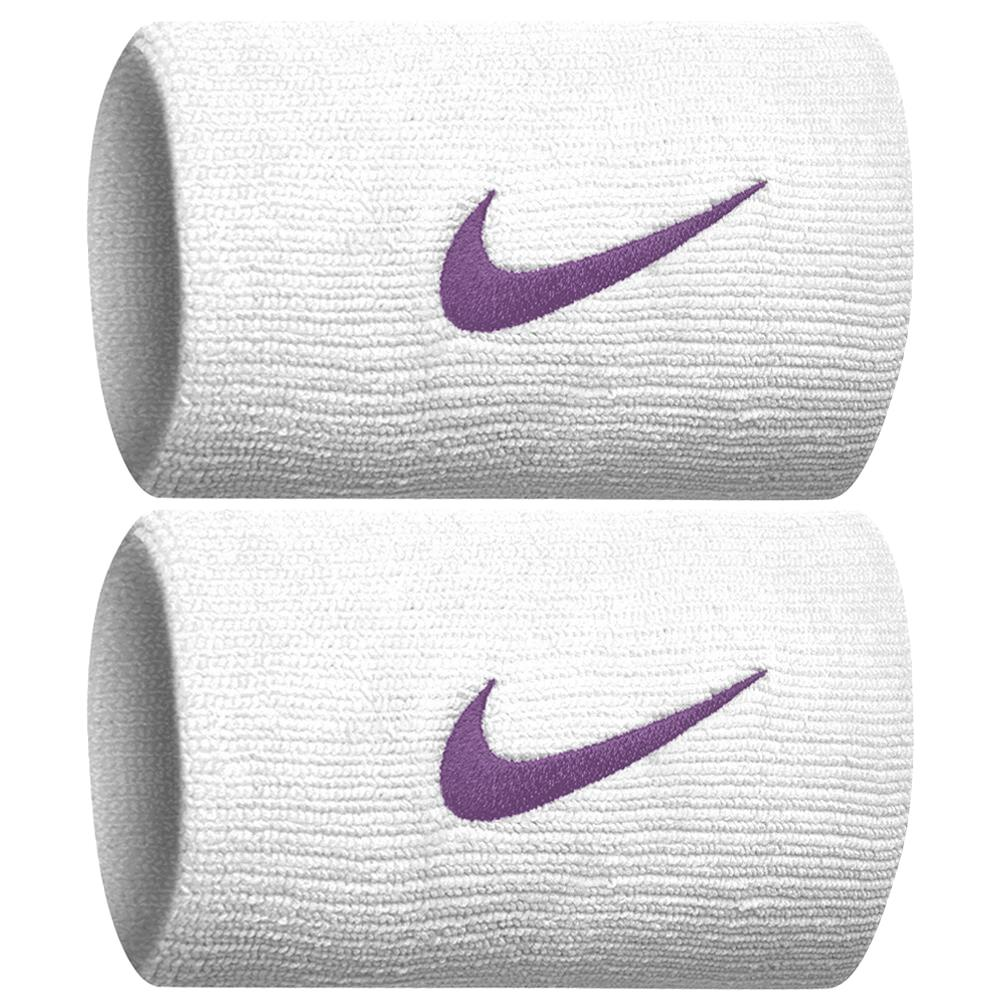 Nike Swoosh Premier DriFit Doublewide Wristband - White/Bright Violet