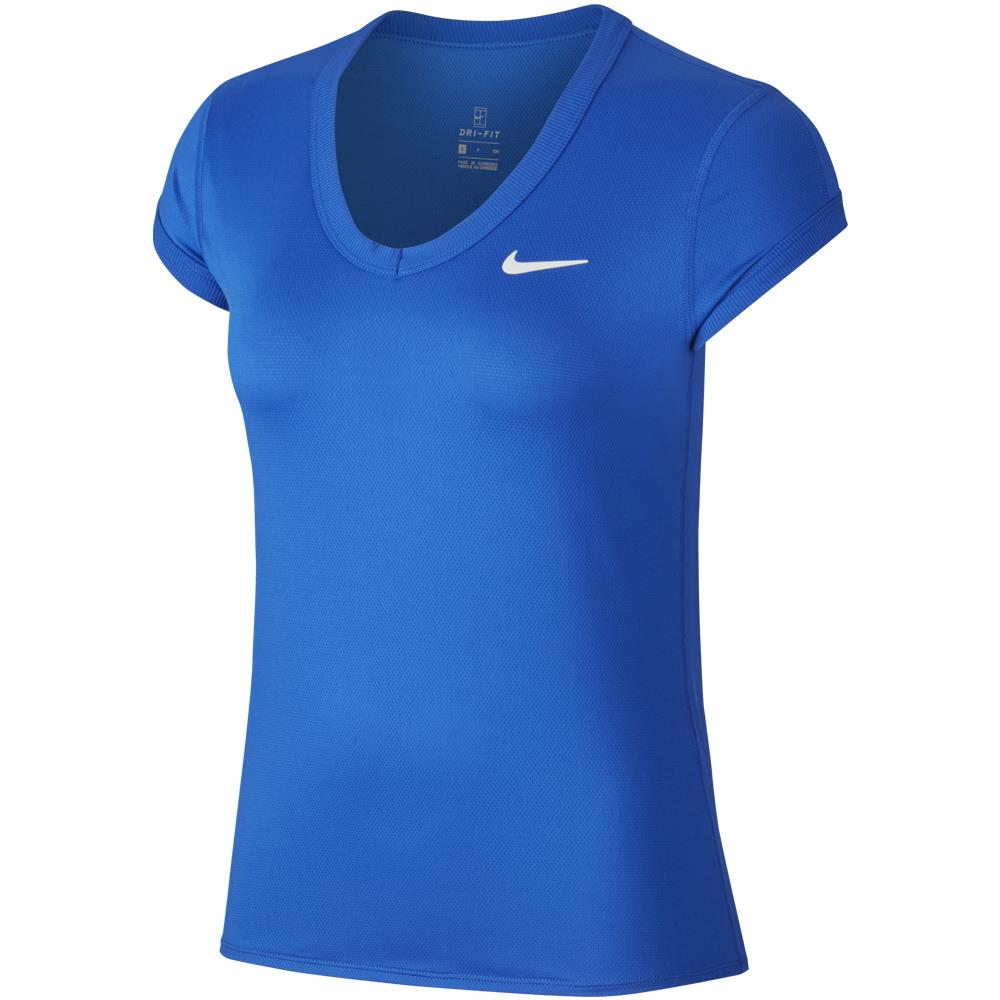 Nike Women's Court Dry Short Sleeve Top - Game Royal/White