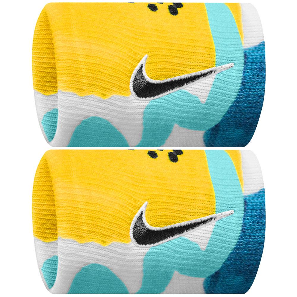 Nike Swoosh Premier Graphic Doublewide Wristband - Valerian Blue/Opti Yellow