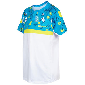Babolat Boys Compete Polo - White/ Malibu Blue