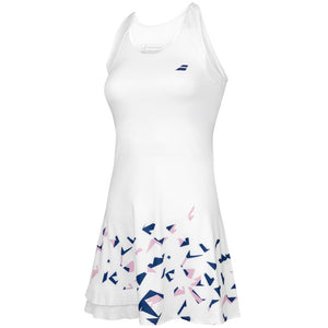 Babolat Girls Compete Dress - White/ Estate Blue