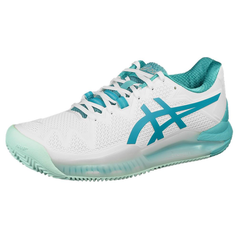 Asics Women's Gel-Resolution 8 - Clay - White/Lagoon