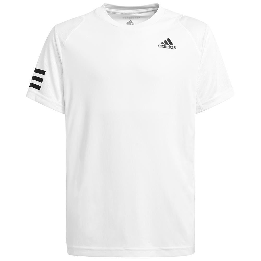 adidas Boys Club 3 Stripe Tee - White