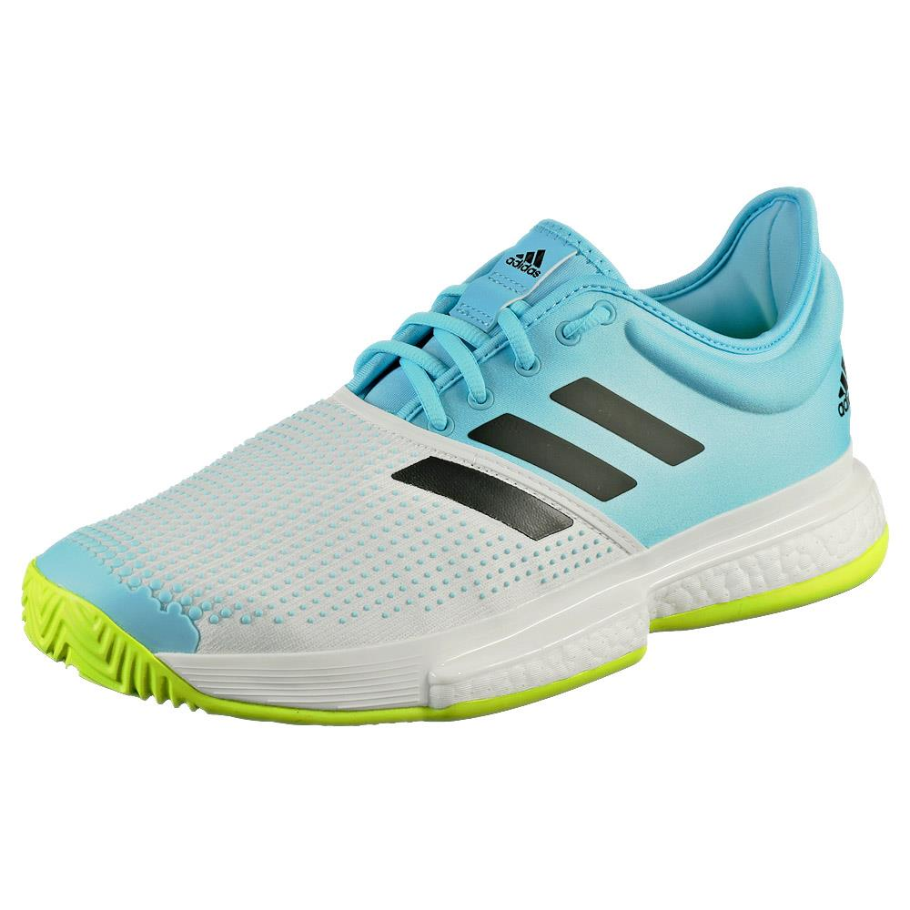 adidas Men's SoleCourt Boost - Primeblue - Sky/Yellow